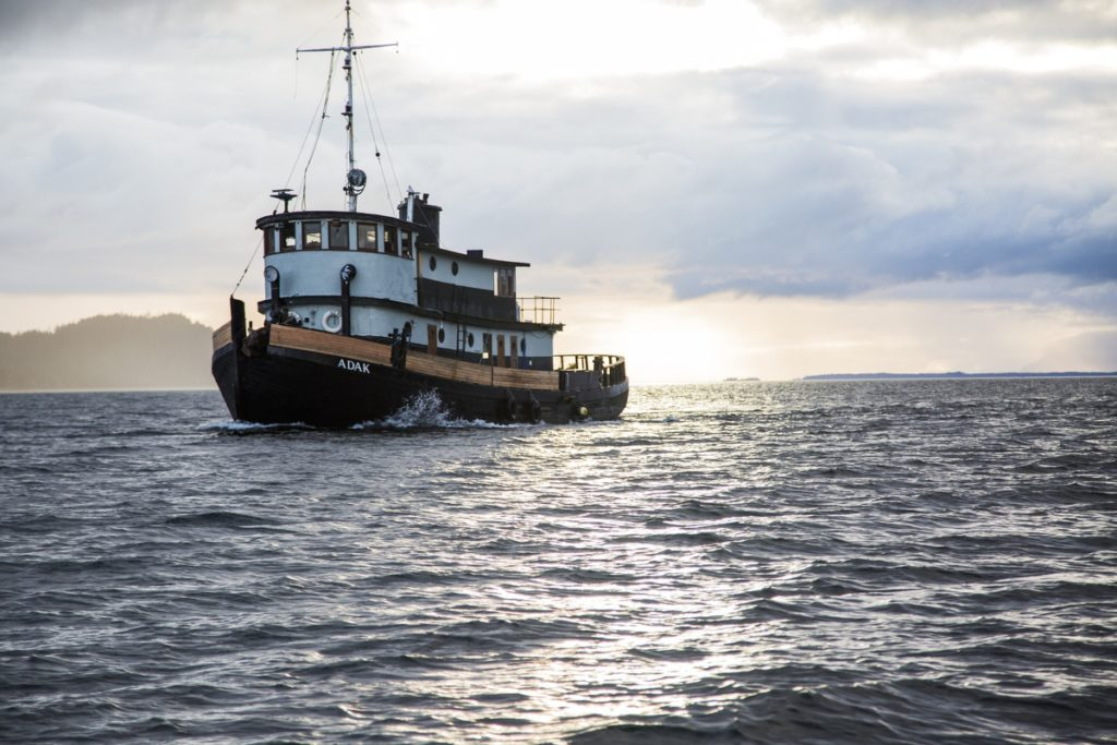 The Adak, a World War Two tugboat now owned by Brendan Isaac Jones, travels from Sitka to Wrangell, Alaska with Jones and crew.